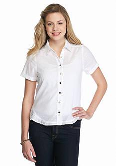 Society Girl Ruffle Hem Button Down Shirt