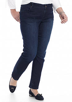 crown & ivy™ Plus Size Five Pocket Jean (Short & Average)