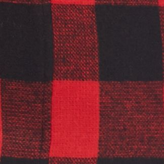 Juniors Coats: Scarlet Red/Caviar Plaid Rampage Basic Peacoat