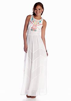 Champagne & Strawberry Embroidered Eyelet Maxi Dress
