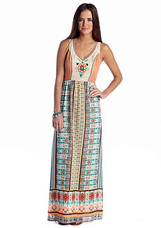 Flying Tomato Embroidered Crochet Trim Maxi Dress