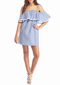 Flying Tomato Off The Shoulder Denim Ruffle Dress