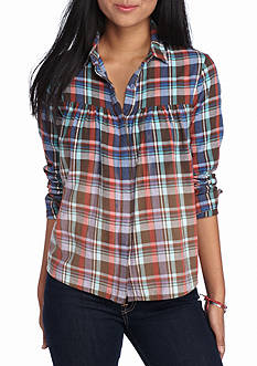 Flying Tomato Crop Plaid Pleated Top