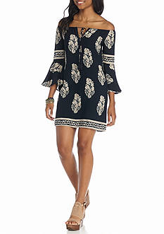 Jealous Tomato Off The Shoulder Printed Dress