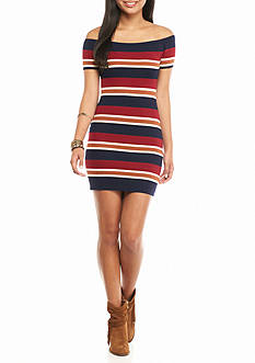 Flying Tomato Off The Shoulder Stripe Dress