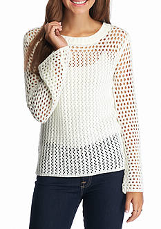 Flying Tomato Open Weave Lace Up Back Sweater