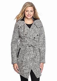 A. Byer Tweed Hood Wrap Wool Coat