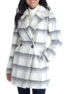 A. Byer Double Button Plaid Wool Coat