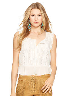 Polo Ralph Lauren Lace-Trimmed Cotton Voile Top
