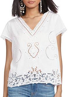 Polo Ralph Lauren Linen-Cotton Lace-Inset Top