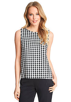1.State Gingham Tie Back Blouse