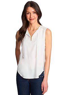 1. State Tie Front Split Neck Blouse