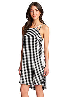 1.State Gingham High Low Dress