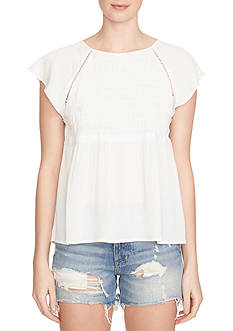 1.State Short Sleeve Smocked Peplum Blouse