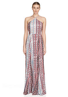 1. State Printed Halter Neck Maxi Dress