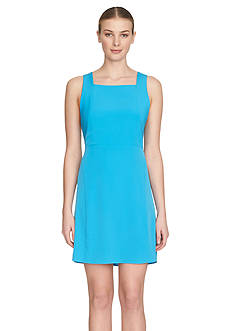 1.State Solid Cross Back Fit And Flare Dress