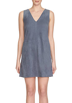1.State Sleeveless Suede Shift Dress