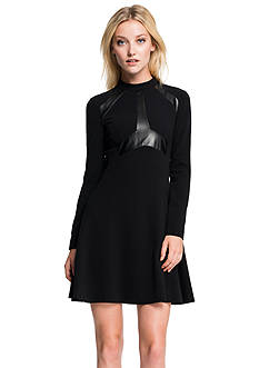 1.State Seamed Bodice Flare Dress with Faux Leather
