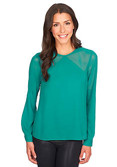 1.State Long Sleeve Sheer Yoke Blouse