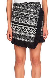 1. State Fringe Hem Cross Front Mini Skirt