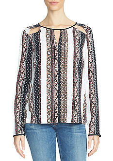 1. State Printed Cutout Blouse