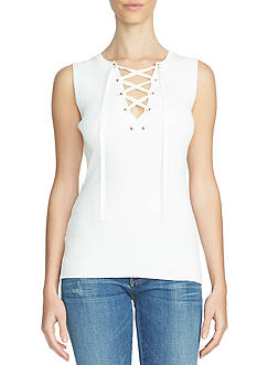 1. State Sleeveless Lace Up Sweater