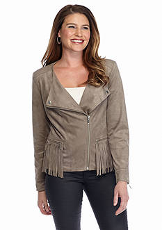 New Directions Faux Suede Fringe Jacket