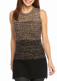 New Directions Ombre Crochet Side Slit Sweater