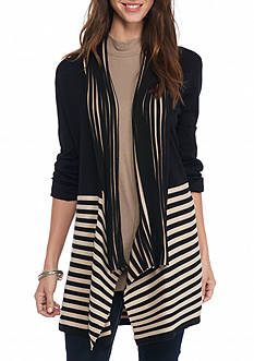 New Directions Stripe Border Open Front Cardigan