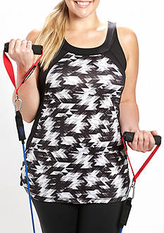 be inspired Plus Size Print Mesh Tank