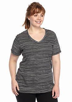 be inspired Plus Size Short Sleeve V-Neck Stripe Tee