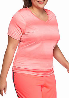 be inspired Plus Size Short Sleeve V-Neck Striped Tee