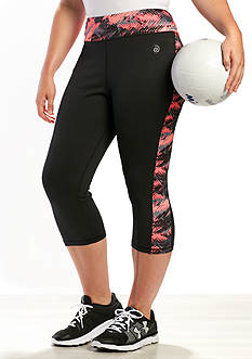 be inspired Plus Size Performance Capris Print Inset