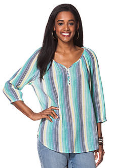 Chaps Striped Peasant Top