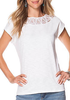 Chaps Short Sleeve Embroidered Ribbed Top