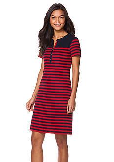 Chaps Striped Cotton Dress