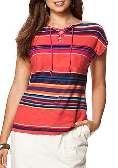 Chaps Striped Lace Up Sweater