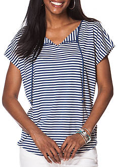 Chaps Short Sleeve Jersey Stripe Knit Top