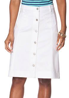Chaps Button-Front Denim Skirt