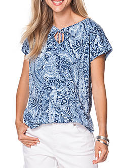 Chaps Tie Front Paisley Print Knit Top
