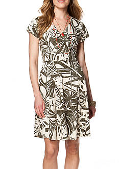 Chaps Printed Wrap Dress
