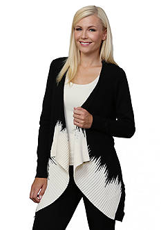 Leo & Nicole Long Sleeve Front Draped Cardigan