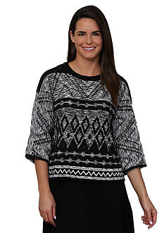 Leo & Nicole Jacquard 3/4 Sleeve Pullover Sweater