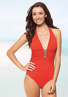 Bleu Rod Beattie Gilt Trip Shirred Halter One Piece Swimsuit