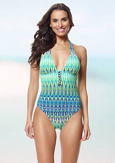 Bleu Rod Beattie Heat Wave Halter One-Piece