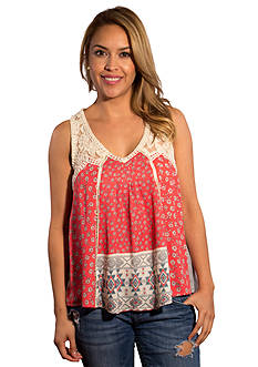 Taylor & Sage Lace Shoulder Printed Tank