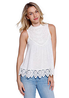 Taylor & Sage Crochet Trim Swingy Top