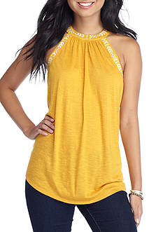 Taylor & Sage High Neck Suede Embroidered Tank