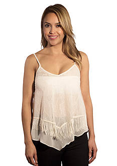 Taylor & Sage Double Layer Lace Tank with Fringe