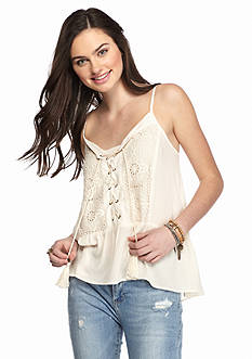 Taylor & Sage Lace Up Crochet Front Tank